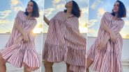 Neha Dhupia Strikes a Pose With the Perfect Set-Up – Cape Dress, Pink Stripes and Sunkissed Skies!