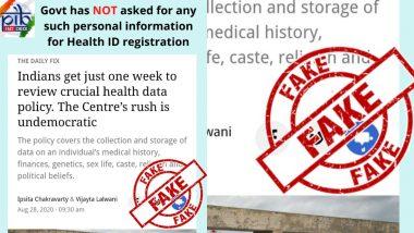 Narendra Modi Govt Asks for 'Sensitive Personal Data' From Individual for Registration of Health ID? PIB Debunks Fake News