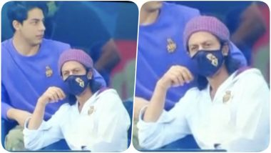 Shah Rukh Khan Attends RR vs KKR IPL 2020 Match in Dubai, Enjoys the Game With Son Aryan (See Pics)