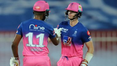 RR vs CSK Stat Highlights IPL 2020: Sanju Samson's Fastest Fifty, Record Sixes in the Match and Other Stats As Rajasthan Royals Register 16-Run Win