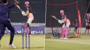 Steve Smith Pulls off an MS Dhoni, Plays the Helicopter Shot in the Nets Ahead of RR vs KXIP, Dream11 IPL 2020 (Watch Video)