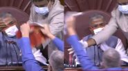 Agricultural Reform Bills: TMC MP Derek O'Brien Enters Well of Rajya Sabha, Tears Papers in Protest Against Farm Bills