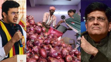 Onions Export Ban Row: BJP MP Tejasvi Surya Writes to Piyush Goyal, Seeks Exemption for 'Bangalore Rose' Bulbs from Banned List