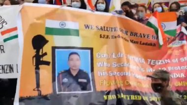 Nyima Tenzin Funeral: People Pay Tributes to Special Frontier Force Commando, Martyred in Ladakh in August, by Raising 'Bharat Mata ki Jai' Slogans (Watch Video)