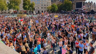 Trafalgar Square Protests: 15,000 'Conspiracy Theorists' Rally in Central London Against Fresh Lockdown Measures