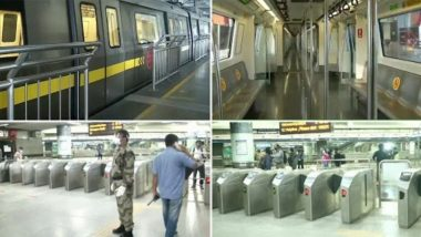 Delhi Metro Resumes Operations After Being Shut For Over 5 Months Due to COVID-19 Lockdown, Services Start Keeping Safety And Social Distancing in Mind; View Pics