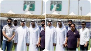 Sourav Ganguly Shares Picture from Sharjah Cricket Stadium Ahead of IPL 2020, Blurs Hoarding of Pakistan Cricketers in the Background (See Pics)