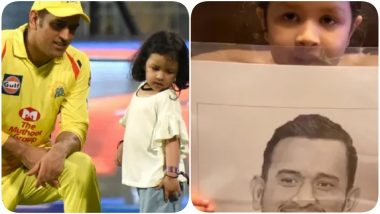 Ziva Dhoni Shares an Adorable Sketch of Papa Mahi Ahead of IPL 2020, Says 'It's Mahendra Singh Dhoni' (Watch Video)