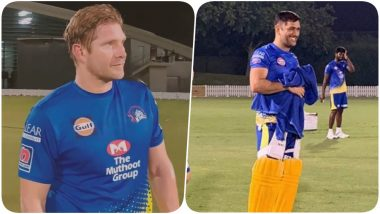 MS Dhoni, Shane Watson Bring Down the Nets With Tall Sixes Ahead of MI vs CSK IPL 2020 Opening Match (Watch Video)