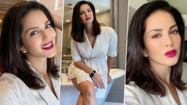 Sunny Leone in her White Blazer Dress and Red Lips is Giving Us the Ultimate Styling Lesson for all Our Future Date Nights (View Pics)