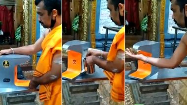Teertha Dispenser For Temples: Video of Contactless Device to Offer Prasad to Devotees During The Pandemic is Going Viral