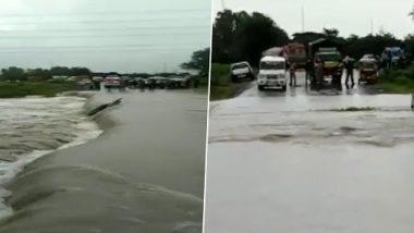 Andhra Pradesh Rains: Road in Vennadevi Area of Guntur District Gets Washed Away, Bridge Damaged Due to Heavy Rainfall (Watch Video)