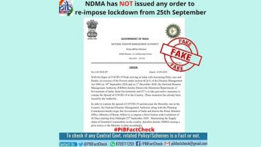 Lockdown in India to Be Reimposed From September 25? PIB Fact Check Reveals Truth Behind Fake Post Quoting NDMA