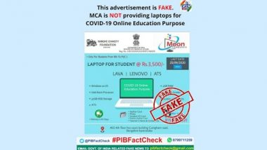 Students From Class 8 to PUC 1 Will Be Given Laptops at Rs 3,500 by MCA Under COVID-19 Online Education Purpose? PIB Reveals Truth Behind Fake Ad