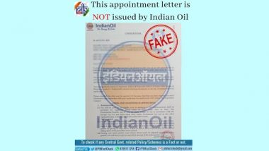 Appointment Letter by Indian Oil Corporation for the Position of Service Manager Is Fake! PIB Fact Check Reveals Truth Behind Fake IOC Letter