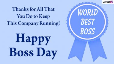 Happy National Boss Day 2020 Messages: WhatsApp Stickers, Facebook Quotes, Super Cool GIFs and Greetings to Wish Your Boss and Ask for a Day Off!