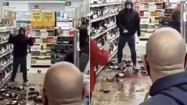 Height of Being a Covidiot! Ireland Man Spotted Smashing Bottles of Wine and Whiskey in Tesco Store After He Was Asked to Wear a Mask, Shocking Footage Goes Viral