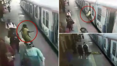 RPF Personnel Pulls Woman to Safety After She Falls While Trying to Board Moving Local Train at Ghatkopar Station, Watch Video