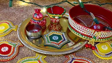 Karwa Chauth 2020 Thali Decoration Ideas: How to Decorate Your Karva Chauth Thali and Chalni? List of Items and Easy Ways to Arrange Your Vrat Thali