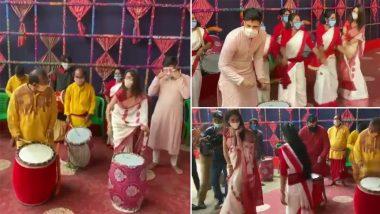 Maha Ashtami 2020: TMC MP Nusrat Jahan Dances to Traditional Dhakis on Durga Puja (Watch Video)