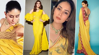 Navratri 2020 Day 6 Saree Colour Is Yellow: Kareena Kapoor Khan, Deepika Padukone, Kriti Sanon and Mira Rajput, These Celebrities' Traditional Look in Yellow Is Pure Gold!