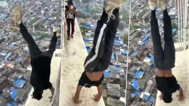 Mumbai Man Performs Handstand on Ledge of High-Rise Building, Police Launch Manhunt After Video of Dangerous Stunt Goes Viral