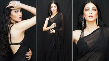 Shruti Haasan Channeling Her Inner Yash Raj Heroine in this Scintillating Black Shantanu & Nikhil Saree (View Pics)