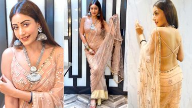 Surbhi Chandna's Sheer Saree with Oxidised Jewellery is the Perfect Styling to Ape for the Ongoing Navratri Season (View Pics)