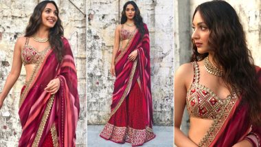 Kiara Advani's Classy Plum Saree For Laxmmi Bomb Promotions Can Be Your Inspiration For Navaratri 2020 Fashion Outing! (View Pics)