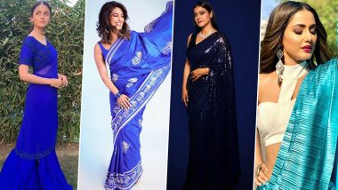 Navratri 2020 Day 5 Saree Colour in Blue: Priyanka Chopra, Alia Bhatt, Kajol and Hina Khan, These Celebrities Look Blue-tiful in Gorgeous Chic Sari