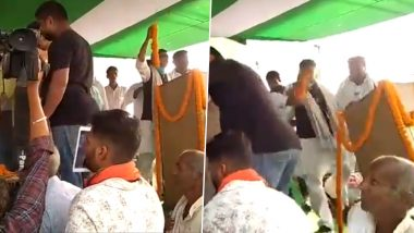 Bihar Assembly Elections 2020: Stage Set Up For Tej Pratap Yadav's Father-in-Law Chandrika Rai Collapses After Overcrowding (Watch Video)