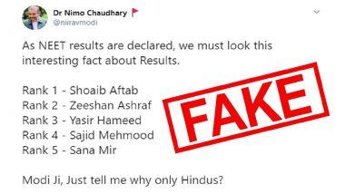 Did Muslim Students Shoaib Aftab, Yasir Hameed, Sana Mir and Others Secure Top 5 Ranks in NEET 2020 Merit List? Check Truth Behind Fake Tweet Going Viral