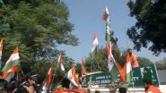 Jammu & Kashmir: BJP Workers Hoist Tricolour at PDP Office in Jammu Days After Mehbooba Mufti Had Refused to Hoist National Flag 'Until J&K Flag Was Restored'; Watch Video