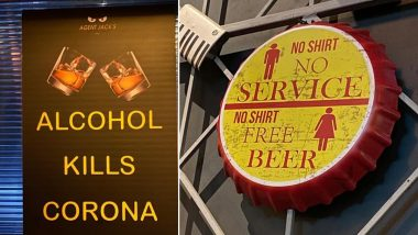 Agent Jack's Bar at Palm Beach Mall, Vashi Puts Up Decor 'No Shirt Free Beer' for Women and Banner Saying 'Alcohol Kills Corona'; Complaint Lodged