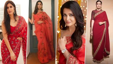 Navratri 2020 Day 4 Saree Colour Red: Aishwarya Rai Bachchan, Karisma Kapoor, Alia Bhatt & Katrina Kaif, Take Style Cues From These Gorgeous Actresses in Red Sarees (View Pics)