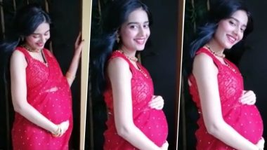 Amrita Rao Shares a Video Caressing Her Baby Bump, Looks Resplendent in a Red Saree for Navratri Celebrations!