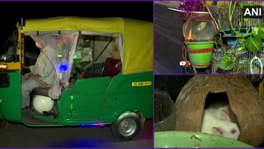 Auto With a View! Bhubaneshwar Rickshaw Driver Converts Vehicle Into a Garden With Plants, Fish, Birds and Rabbits Inside (Check Pics)