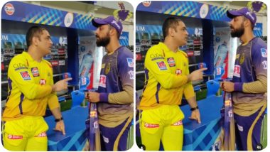 MS Dhoni's Conversation With Varun Chakravarthy After CSK vs KKR, IPL 2020 Goes Viral on Social Media, Check Out Video