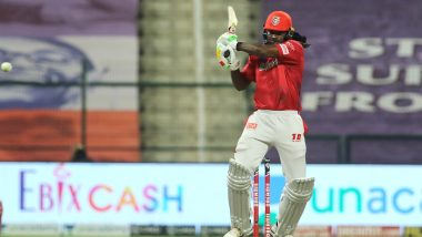 IPL 2020: Chris Gayle Fined 10% of His Match Fee for Flung His Bat After Getting Out on 99 (Watch Video)