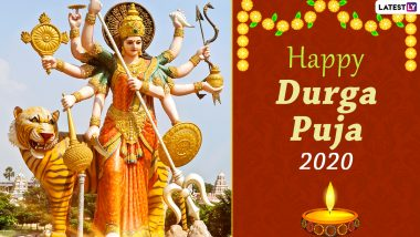 Happy Durga Puja 2020 Greetings and HD Images: WhatsApp Stickers, Maa Durga GIFs, Facebook Photos, Durgotsav Messages and SMS to Send Wishes During Pujo Time