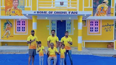 Die-Hard MS Dhoni Fan Gopikrishnan in Tamil Nadu's Cuddalore District Paints His Home Yellow with CSK Logo, Makes Thala's Portrait on Wall