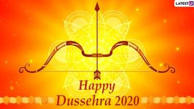 Dussehra 2020 HD Images & Wallpapers for Free Download Online: Wish Happy Vijayadashami With Ravan Dahan WhatsApp Stickers, GIF Greetings and Facebook Messages