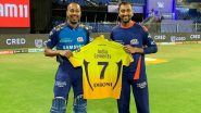 MS Dhoni Gifts His Jersey to Hardik & Krunal Pandya After CSK vs MI Clash in IPL 2020 (View Pic)