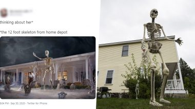 12 Foot Home Depot Skeleton Pics And Funny Memes Float Online As People Are Obsessed With The Giant Skeletal Decorations For Halloween 2020 Latestly
