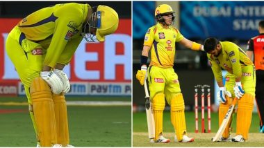 MS Dhoni Struggles During Chennai Super Kings' 7-Run Loss to Sunrisers Hyderabad in IPL 2020, Heartbroken Fans React With Sad GIFs and Images After Watching Their Hero Grapple With Tough Conditions
