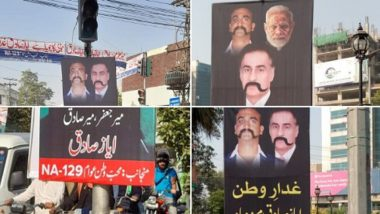 PM Modi, Wg Cdr Abhinandan Posters Seen in Pakistan as Chorus Grows for Sedition Charge Against 'Traitor Ayaz Sadiq'