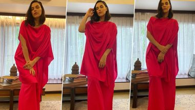 Neha Dhupia Is Working Off That Fiery Red, Fluid Silhouette, Work From Home Mood Perfectly!