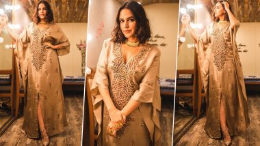 Neha Dhupia Is Dripping Gorgeousness in Gold Wearing a Nikita Mhaisalkar Dress!