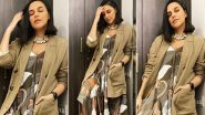 Neha Dhupia's Olive and Tan Asymmetrical Dress Worth Rs.14,000 Looks Like the Perfect Holiday Style Statement!