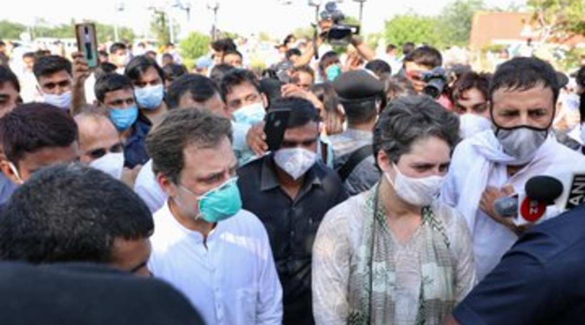 Rahul Gandhi and Priyanka Gandhi in Hathras